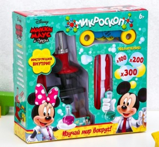Научный набор Микки Маус и друзья Микроскоп с биноклем и пинцетами цвет микс 3506975 6+