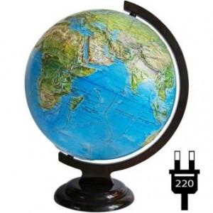 Глобус физический политический рельефный на деревянной подставке с подсветкой Двойная карта 320 мм 10209