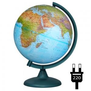 Глобус Земли физический политический рельефный диаметр 250мм с подсветкой Двойная карта 10182