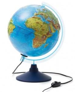 Глобус Земли физико политический Классик Евро 250мм с подсветкой Рельефный Ке022500195 6+