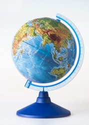 Глобус Земли физический рельефный с подсветкой от батареек Классик Евро 250 мм Ве022500258 6+