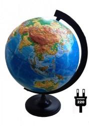 Глобус Земли физический рельефный с подсветкой 320 мм 10199
