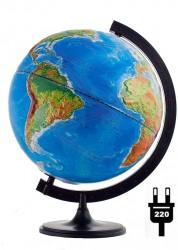 Глобус Земли Двойная карта рельефный с подсветкой 320 мм 10202